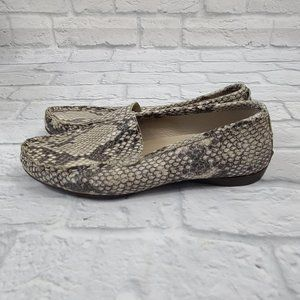 AGL Snakeskin Print Leather Slip On Loafers